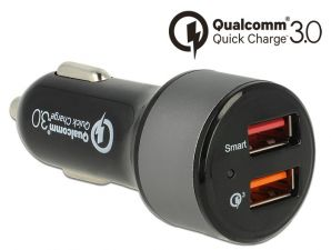 Ładowarka 230V - 1x USB Qualcomm Quick Charge 3.0 + 1x USB 2.4A Delock Navilock